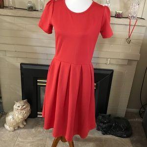 LuLaRoe Pleated Orange Dress.